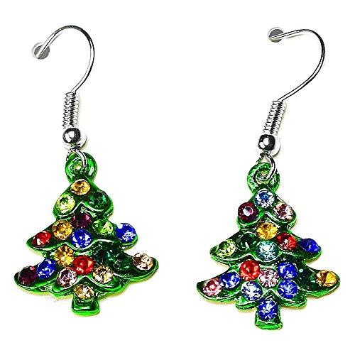 Crystal Rhinestone Christmas Tree Stud Dangle Earrings in Gift Bag Womens Girls Jewellery