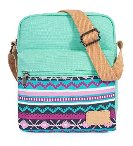 Leaper Cute Canvas Crossbody Bag and Purse Set Retro Messenger Bag Teal-SD04