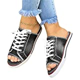 XJBHD 2020 Sandalen Flach Sommer für Damen Comfy Peep Toe Gladiator Zehentrenner Casual Vintage Schuhe Flache T Strap SandalsGray-40