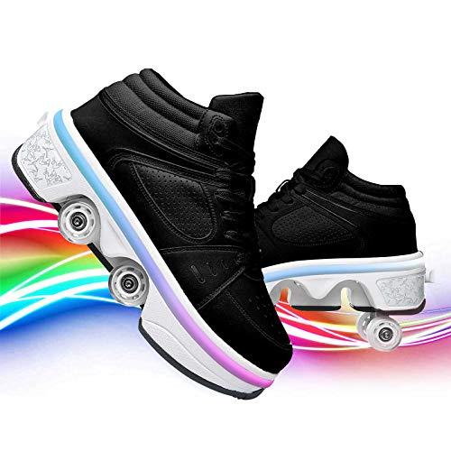 JZIYH Clignotante Chaussures À roulettes LED Roller Chaussures De Skateboard Baskets Lumineuse avec Roues Skateboard Roues Rétractables Baskets Mode pour Garçons Et Filles Enfants