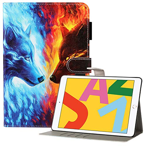 Coopts iPad 7th Generation Case with Pencil Holder, iPad 10.2 2019 Case, Premium PU Leather Protective Folio Stand Smart Wallet Case for iPad 10.2' 7th Gen 2019/Air 3 2019/Pro 10.5 2017, Ice Fire Wolf