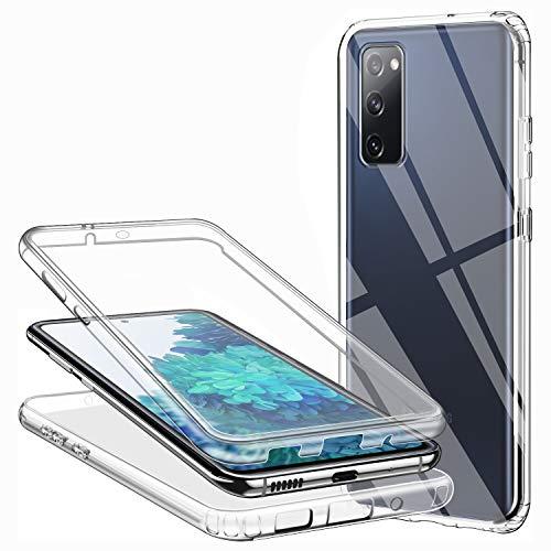 Cover per Samsung Galaxy S20 Fe, Silicone Trasparente 360 Gradi Full Body Protettiva Ultra Sottile 2 in 1 Anteriore e Posteriore Morbida TPU Antiurto Ai Graffi Bumper Custodia