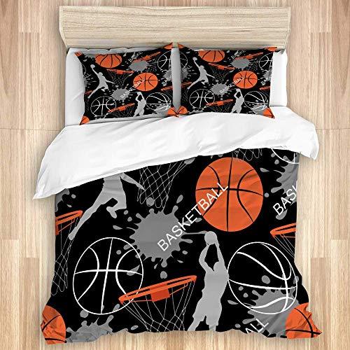 Juego de funda nórdica de 3 piezas, juego de baloncesto deportivo abstracto, juegos de fundas de edredón de microfibra de lujo para dormitorio, colcha con cremallera con 2 fundas de almohada