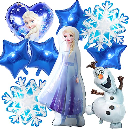 Elsa - Decoración para fiesta de cumpleaños, 9 unidades, globos de helio congelados, para niñas y mujeres, cumpleaños, baby shower, fiesta de fondo