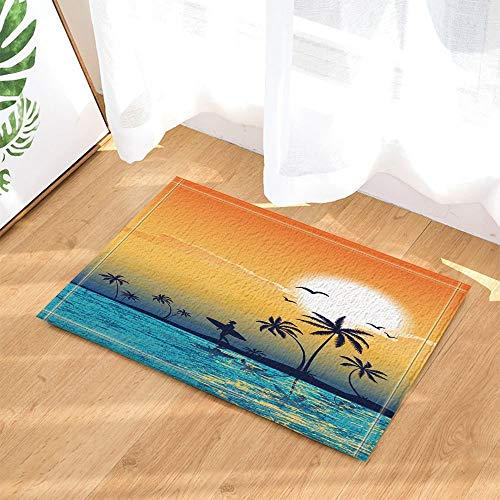 123456789 Nautical Tourism Decor Man with Surfboard under Coconut Tree at Sunset Bath Rugs Non-Slip Doormat Floor Entryways Indoor Front Door Mat Kids Bath Mat 60X40CM Bathroom Accessories