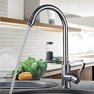 Auralum® Grifo Cocina con Aireadores Latón Cromado Caliente y fría de agua Alternativa