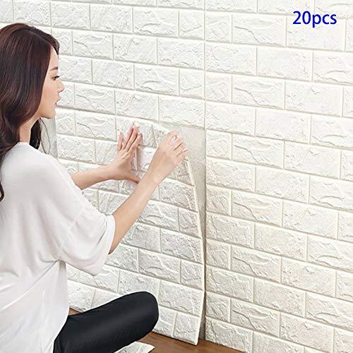 Carta da Parati Mattoni Bianco 3d, YTAT 3D Brick Wallpaper Stickers, Carta da Parati Adesiva, Stickers Muro 3d, Carta da Parati per Cucina, Bagno, Soggiorno, Salone, Ufficio, TV Sfondo (20, bianco)