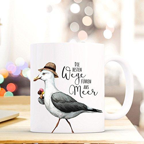 ilka parey wandtattoo-welt Lustige Tasse Becher Kaffeetasse mit Möwe EIS Spruch Kaffeebecher Geschenk Spruchbecher Weg ans Meer. ts648