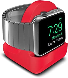 AWINNER Compact Stand Compatible with iWatch Series 3, Series 2, Series 1 - Nightstand Mode Compatible - Support Stand with Integrated Cable Management Slot (38mm & 42mm Compatible) (Red)