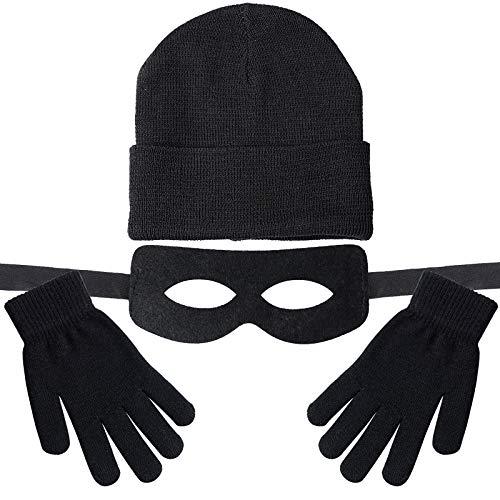 BETESSIN (3 STK) Ritter Maske Schwarz Strickmützen Handschuhe Kostüm Karneval Einbrecher Augenmaske Fasching Fasnacht Halbmaske Gesichtsmaske Winter Beanie Herren Damen für Männer Wintermütze