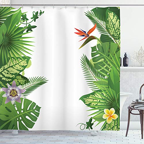 ABAKUHAUS Tropical Cortina de Baño, Crecimiento Selva Tropical, Material Resistente al Agua Durable Estampa Digital, 175 x 200 cm, Multicolor