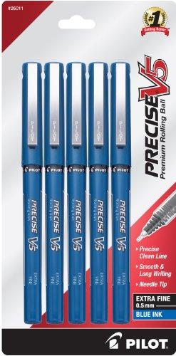 PILOT Precise V5 Stick Liquid Ink Rolling Ball Stick Pens, Extra Fine Point (0.5mm) Blue Ink, 5-Pack (26011)