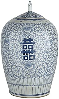 Legends of Asia Oriental Ceramic Decorative Double Happiness Ginger Jar Blue & White Floral Decorative Storage Container