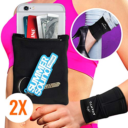 AVANTO Ninja Wrist Wallet 2-Pack, Ankle Wallet, iPhone Holder for Running, Phone Armband, Hidden Sleeve Pouch, Travel Wallet, Sweatbands, Hidden Pocket for Wrist, Arm, Leg, Calf, Black, M/L