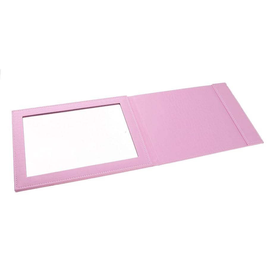 不健康無効にする隔離Perfeclan 3色選べ ミラー 化粧鏡 メイクアップ 折りたたみ式 PUレザー 90°から145°調節 実用的 旅行  - ピンク
