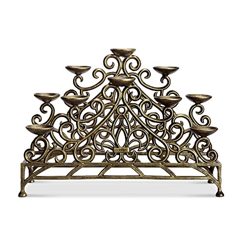 Viridian Bay Fontaine Collection Stylized Fleur de Lys Fireplace Candelabra (Bronze Finish)