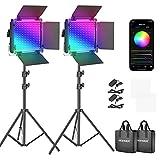 Neewer 530PRO RGB LED Videolicht mit APP Steuerungs & Ständerset, 360 ° Vollfarbe, 45W Videobeleuchtungs-Set CRI 98+ für Spiele, Streaming, Zoom, YouTube, Webex, R&funk, Webkonferenz, Fotografie