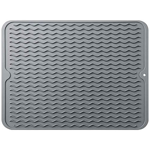 Large 16   X 12   Silicone Dish Drying Mat,Durable Dish Drainer,Heat Resistant &Non-Slip Kitchen Pad,Countertop Protector,Easy Clean&Dish Washer Safe(Grey)