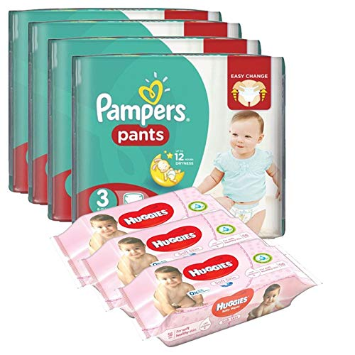 Pack bébé propre 390 Couches Pampers Baby Dry Pants T3 + 560 Lingettes Huggies Soft Skin