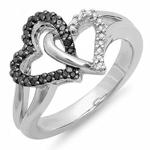 Dazzlingrock Collection 0.25 Carat (ctw) Sterling Silver Round Black & White Diamond Ladies Tangled Double Heart Love Promise Ring 1/4 CT, Size 9