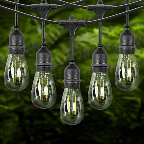 JMEXSUSS 2Pack 48ft LED Outdoor String Lights, Commercial Grade Weatherproof Patio String Lights, 15 Hanging Sockets with16 Edison Vintage Bulbs, UL Listed Decorative for Wedding,Gathering,Garden