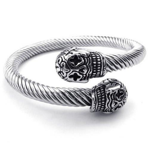 KONOV - Bracciale da uomo, stile gotico con teschio, fantasia, in acciaio Inox, con confezione regalo, colore: Argento
