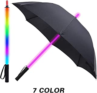Black Fabric LED Lightsaber Umbrella Flashlight in The Easy Grip Handle Golf Umbrellas with 7 Colors Sword Light up Changing on The Shaft Built in Torch at Bottom