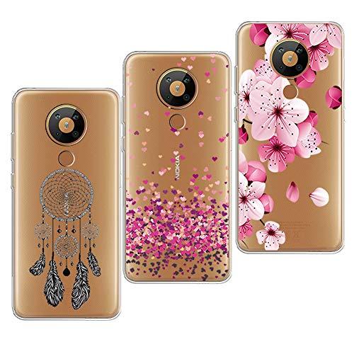 PZEMIN 3 Stück für Nokia 5.3 Hülle Handyhülle Silikon Gummi Clear Schale Transparent Durchsichtig TPU Bumper Schutzhülle, Traumfänger + Liebe + Pfirsichblüte