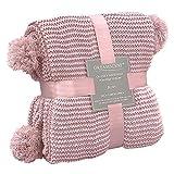 Dreamscene Manta de Punto Grueso para sofá o sofá, Grande, de Punto, cálido, con Pompones para la Cama, Color Rosa Rubor, 150 x 180 cm