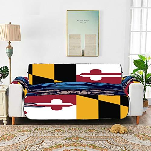WDDHOME Maryland State Flag USA Vektor-Format Ohrensessel Schonbezug Lodge Sofabezug Sofa Chaiselongue 66