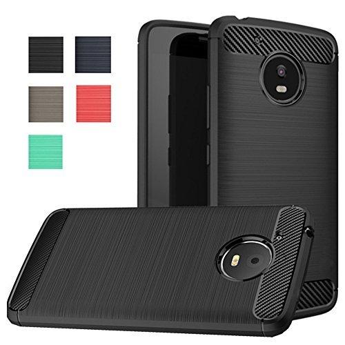 Moto E4 Plus Case, Dretal Carbon Fiber Shock Resistant Brushed Texture Soft TPU Phone case Anti-Fingerprint Flexible Full-Body Protective Cover for Motorola Moto E4 Plus USA Version (Black)