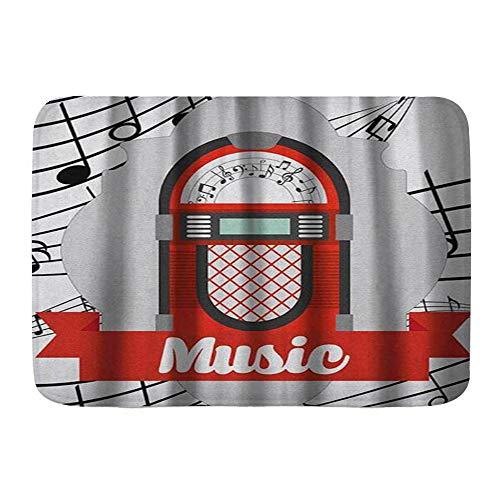 Popsastaresa Alfombrillas para baño, Jukebox Old Vintage Music Radio Box Imagen de Dibujos Animados con Notas Obra de Arte,con Respaldo Antideslizante,29.5