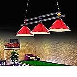 Ceakep Candelabro Colgante de Piscina de Billar Negro Ocho con 3 Pantallas de lámpara candelabro de iluminación de Sala de Billar de Industria Creativa candelabro de Escalera candelabro de Cocina (B)