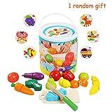 BelleStyle Holz Schneiden Obst und Gemüse Spielzeug Im Eimer,13 Stück Kinder Küchenspielzeug,Küche Spielzeug Rollenspiel Lernspielzeug Geschenk