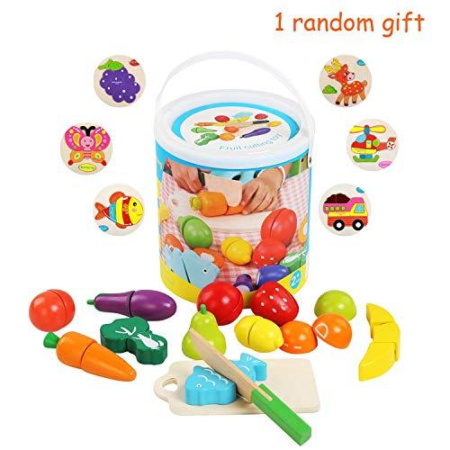 BelleStyle Taglio Frutta Verdura Bambini,Legno Secchio Taglio Frutta e Verdura Giocattolo della Cucina Finer Negozio di Taglio Giocattolo Bambini 3+ A