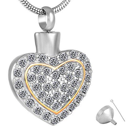 QQJJSUDIW Collares con Colgante De Bisuteríacollar con Colgante De Urna En Forma De Corazón De Cristal