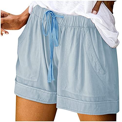 WINTOM Yoga Hosen Frauen 3/4 Kurze Hose Damen Sommer Freizeitshorts Sport Yoga Kurze Hose Shorts Damen Sommer Locker Kurze Hose Damen Knielang