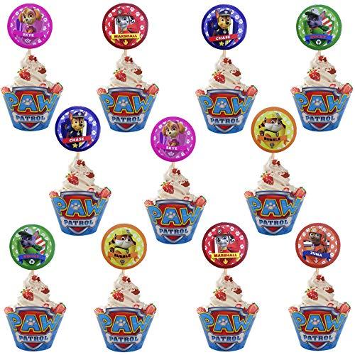 Miotlsy Paw Dog Patrol Cupcake Wrappers Papier 24pcs Muffins Dessert Dekoration Verpackung und 24pcs Paw Dog Patrol Kuchen-Toppers für Kinder Geburtstag Party, Hochzeit Kuchen Deko
