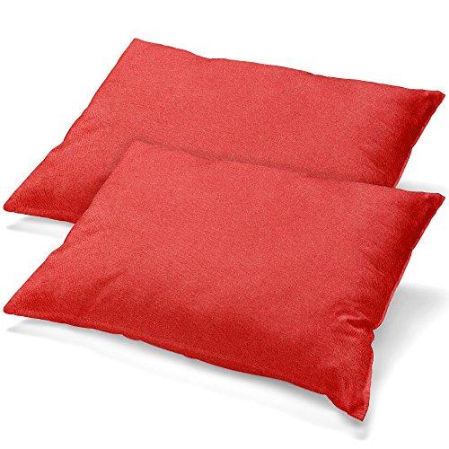 aqua-textil Classic Line Housse de Coussin Lot de 2 Fermeture Éclair Coton 40 x 80 cm Rouge Cerise