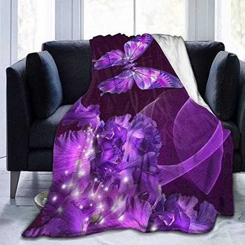 Crayo Bettwäsche Fleecedecke,Decke Werfen,Lila Schmetterling Und Blume Flanell Fleece Decke Werfen Super Weiche Warme Gemütliche Trösterdecken-Die Ganze Saison