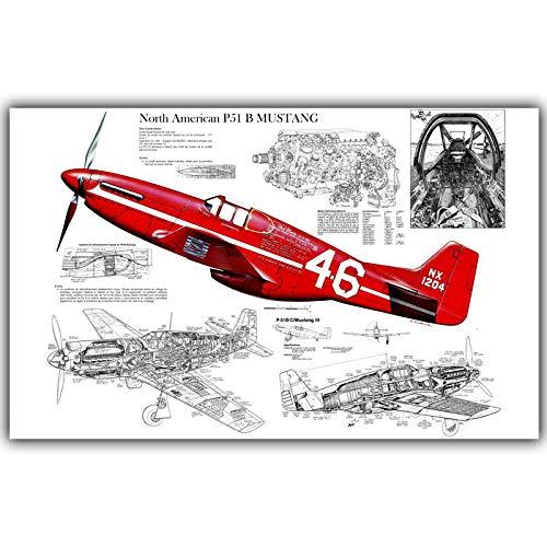 Noord-Amerikaanse P-51 Mustang vliegtuig grafische kunst Poster Decor Canvas schilderij Wall Art moderne woonkamer Home Decor 40 x 70 cm geen Frame