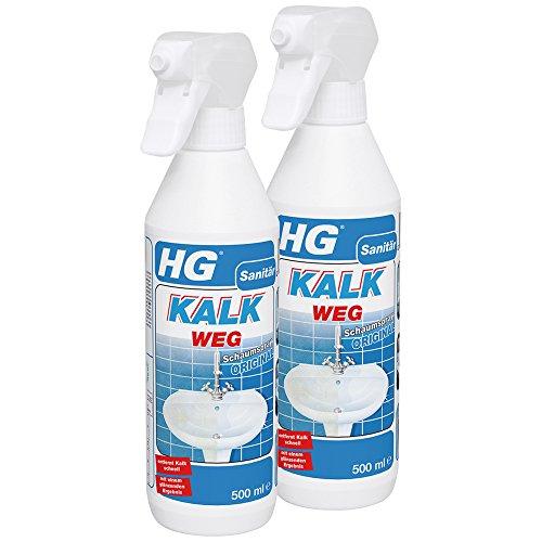 HG Kalkweg Schaumspray, 2er pack (2x 500 ml) – ist ein Anti Kalk Schaum zur leichten und effektiven Entfernung von Kalkstein