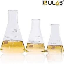ULAB Scientific Narrow-Mouth Glass Erlenmeyer Flask Set, 3 Sizes 150ml 250ml 500ml, 3.3 Borosilicate with Printed Graduation, UEF1028