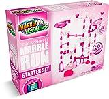 Marble Genius Marble Run Pink Sparkles Starter Set - 130 Complete Pieces + Free Instruction App (80 Translucent Marbulous Pieces + 50 Glass Marbles)