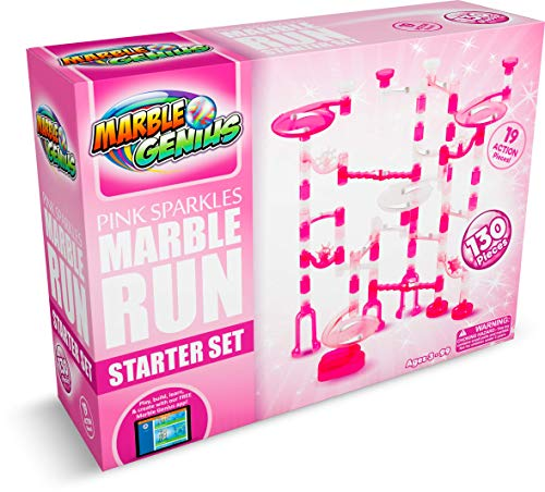Marble Genius Marble Run Pink Sparkles Starter Set - 130 Complete Pieces + Free Instruction App (80 Translucent Marbulous Pieces + 50 Glass Marbles)