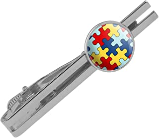 Autism Awareness Diversity Puzzle Pieces Round Tie Bar Clip Clasp Tack Silver Color Plated