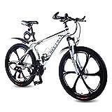 REETWO Vélo Homme Femme VTT 26 Pouces Vélo de Montagne Route Course Aluminium VTT Semi Rigide 21 Vitesses Shimano Double Freins a Disque Mixte Adulte Enfant (Blanc)