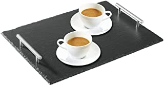mDesign Slate Stone Gourmet Serving Platter, Cheese Board, Charcuterie Tray with Natural Edge & Stainless Steel Handles for Cheese, Meats, Appetizers, Dried Fruits - Display Chalkboard - Black