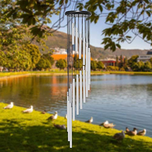Wind Chime Outdoor Large Sliver Aluminium Tube Wind Chime Solid Wood and 18 Scrub Aluminum Alloy Gold Tubes Wind Chime 36'' Large Sliver Wind Chime for Party, Garden, Decor, Gift etc (Silver)