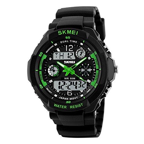 Reloj de hombre de Skmei resistente al agua 50m ,reloj deportivo para el aire libre, montañismo o senderismo, reloj LED digital para niños y hombres., Verde, large